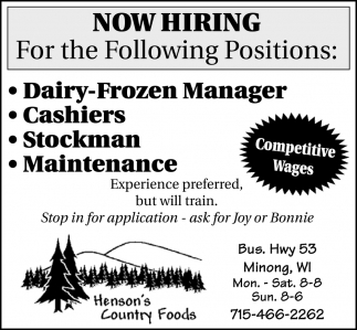 Dairy-Frozen Manager, Cashiers, Stockman, Maintenance