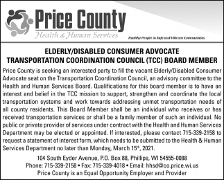 Elderly/Disabled Consumer Advocate, Transportation Coordination Council Board Member