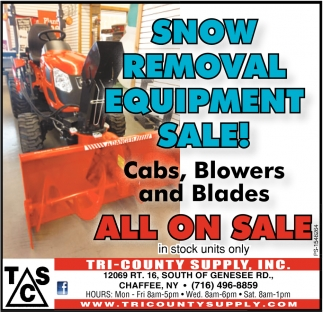 Snow Removal Equipment Sale!