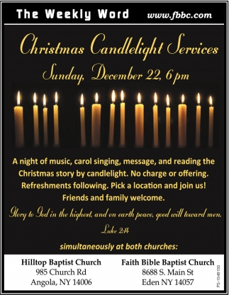 Christmas Candlelight Services
