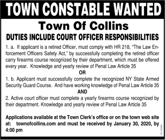 Town Constable Wanted