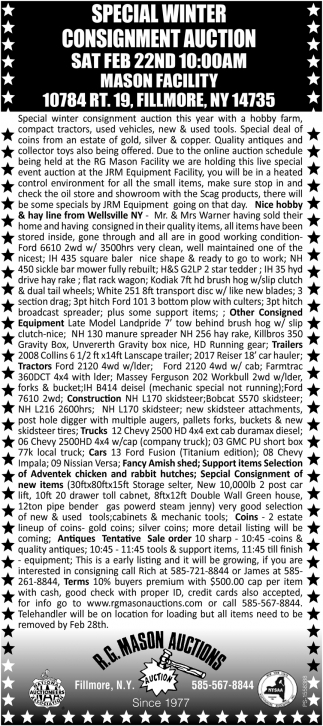 Special Winter Consignment Auction