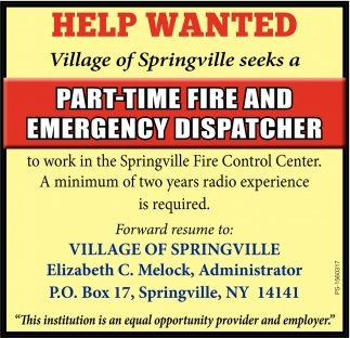 Part Time Fire And Emergency Dispatcher