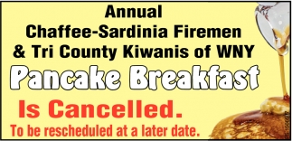 Pancake Breakfast Is Cancelled