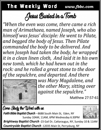 Jesus Buried In A Tomb
