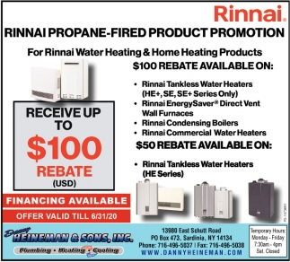 Rinnai Propane-Fired Product Promotion