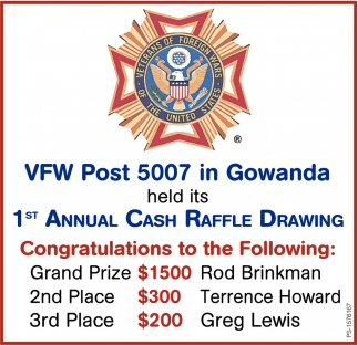 1st Annual Cash Raffle Drawing
