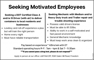 Seeking Motivated Employees