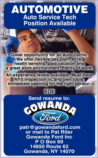 Auto Service Tech Position Available