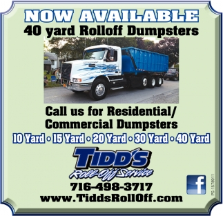 Now Available 40 Yard Rolloff Dumpsters