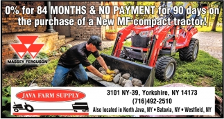 0% For 84 Months & No Payment For 90 Days On The Purchase Of A New MF Compact Tractor!