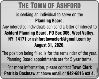 The Town Of Ashford Is Seeking An Individual To Serve On The Planning Board.