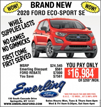 Brand New 2020 Ford Eco-Sport SE