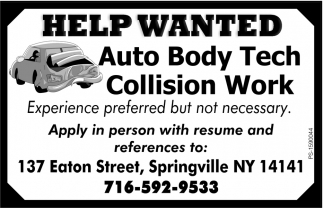 Auto Body Tech Collision Work