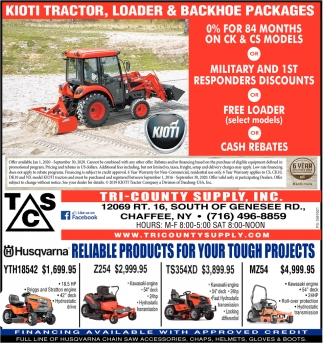 Kioti Tractor, Loader & Backhoe Packages
